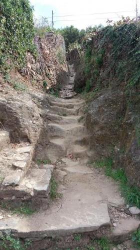 Der historische Pilgerweg hinab nach Portomarin